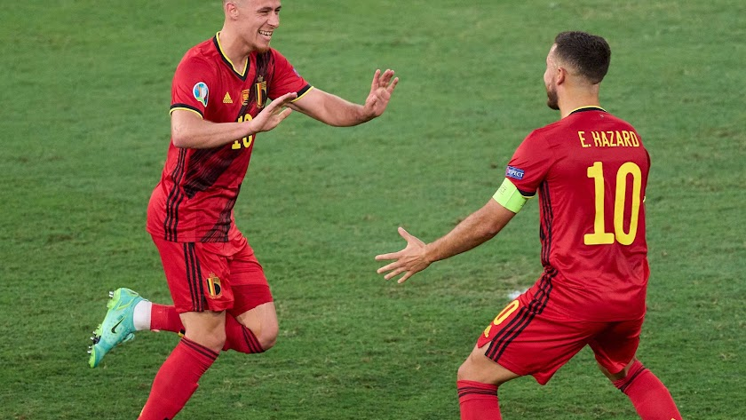 El gol de Bélgica celebrado por los hermanos Hazard.