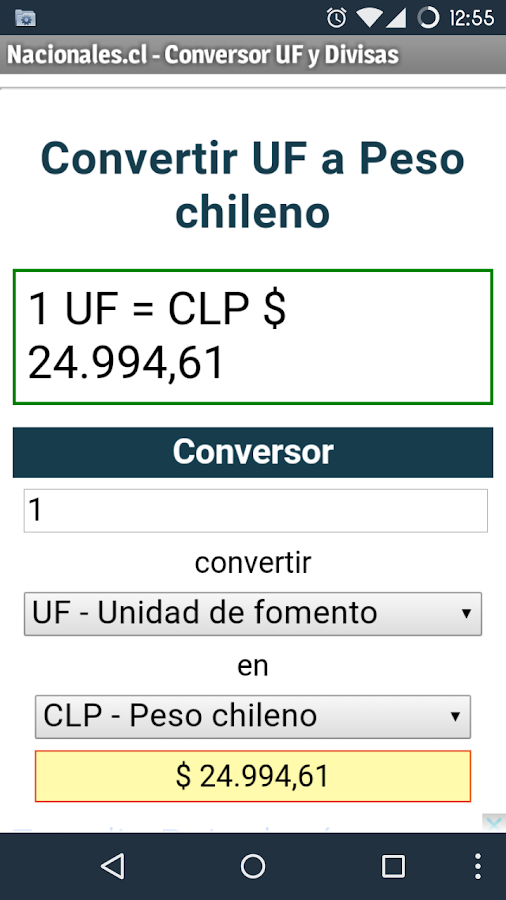UF, CLP, USD, EUR converter- screenshot
