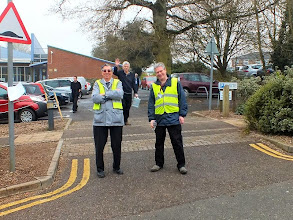 Photo: 001 Visitors know they are getting near to the event when they encounter the Wessex NGM Car Parking Checkpoint, here manned by Ted Stribling and Antony Young. NG & IRM Editor Bob Barlow is also keen to get in the picture !