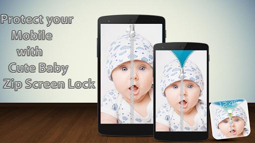 かわいい赤ちゃんジップ画面のロック