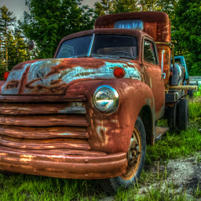 Side View by Chris Cavallo - Transportation Automobiles ( old car, maine, rusty, rust, old truck, golden hour, decay, abandoned,  )