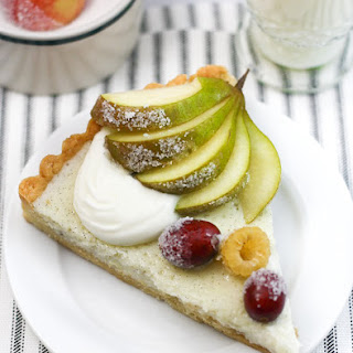 White Ricotta Tart wth Sugared Fruit.