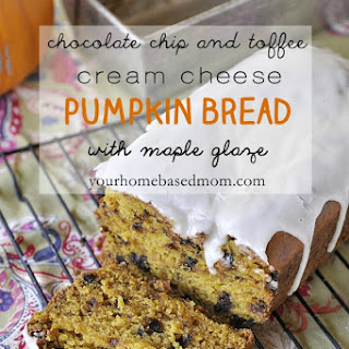 Chocolate Chip and Toffee Cream Cheese Pumpkin Bread with Maple Glaze