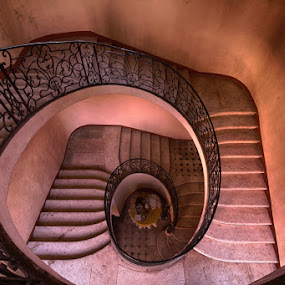 Colourful spiral by Marlou Nijpels - Buildings & Architecture Decaying & Abandoned ( urban, old, urbex, stairs, stairway, staircase, escher, light, decay, pornstairs, colours, exploring, abandoned,  )