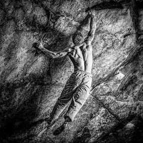 Diesel Three by Matthew Robertson - Sports & Fitness Climbing ( rock climbing, night sessions, back, lincoln woods, climbing, diesel, matt loon, try again boulder, muscles, v8, fall, night, climber, crushing, bouldering )