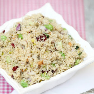 Quinoa Salad with Edamame, Broccoli Sprouts and Smoked Almonds.