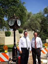 Photo: Rotarian Jason Washo and Honorary Rotarian City of Scottsdale Mayor Jim Lane in 114ºF to see the installation of the Scottsdale Rotary Clock