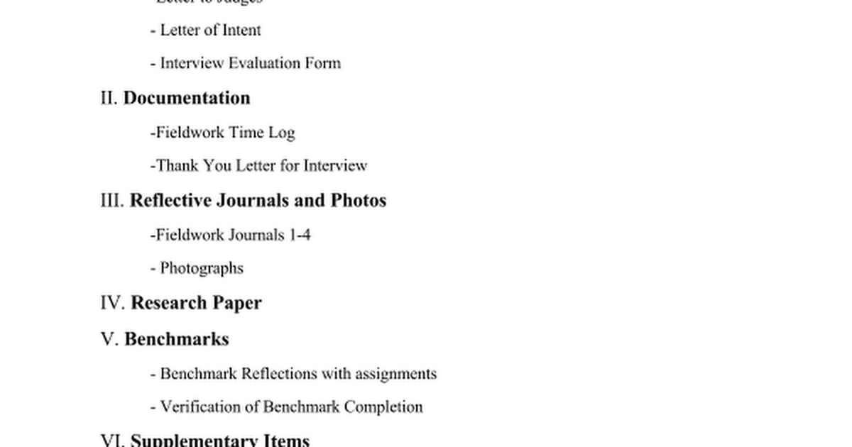 table of contents template google docs - senior project portfolio table of contents google docs