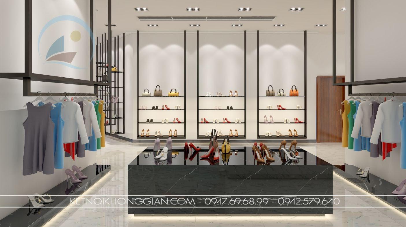 thiết kế cửa hàng giày dép sang trọng