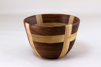 "Photo: Jeff Tate 5"" x 3 1/2"" cross bowl [walnut, poplar]"