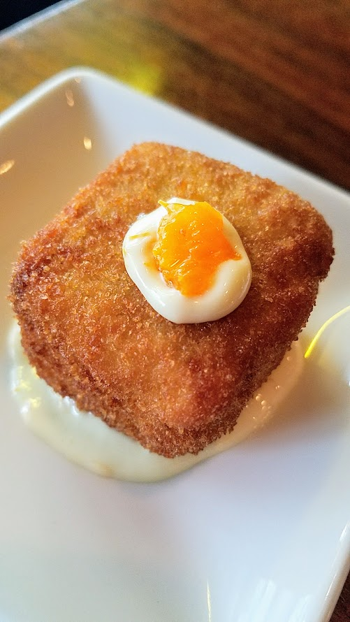 Superbite Happy Hour item of Duck Croquette a L'Orange with crispy duck rillette and tangerine aioli