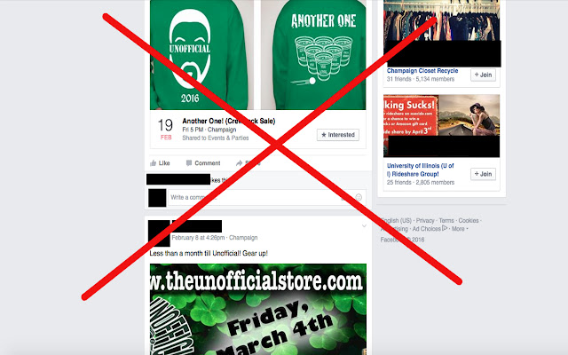 Remove Unofficial Tshirt Sales from Facebook