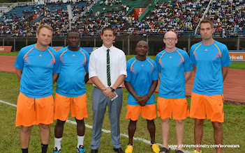 Photo: Coach McKinstry with his technical and medical teams  [Leone Stars v Swaziland 31 May 2014 (Pic: Darren McKinstry)]