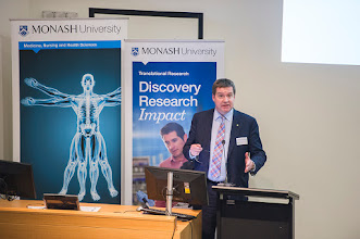 Photo: Prof Euan Wallace presented on the research underpinning new treatments for preeclampsia, a blood pressure problem for pregnant women often causing preterm births. http://www.med.monash.edu.au/cecs/events/2015-tr-symposium.html