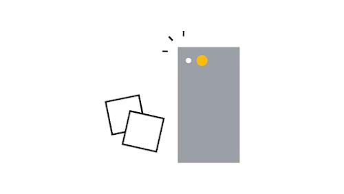 Ilustração de um smartphone tirando uma foto