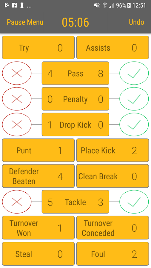 Rugby StatKeeper- screenshot