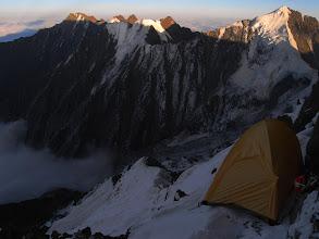 Photo: Exposed tent site on Ren Zhong Feng