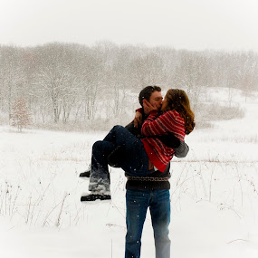 In Love by Jess Anderson - People Couples ( love, winter, snow, engaged, outdoor )
