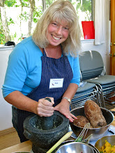 Photo: Pam pounding ginger for the taro fritters