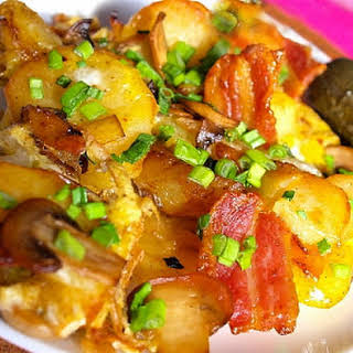 Sauteed Potatoes And Mushrooms.