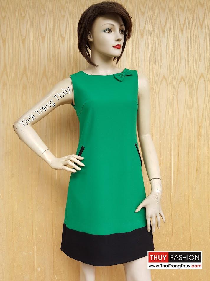 Váy suông công sở cổ đính nơ phối màu xanh đen V446 Thời Trang Thủy