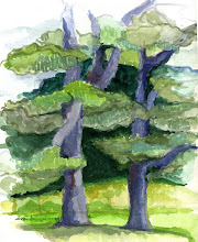 Photo: 1999 Pines at the Smith farm. Fennimore, WI. Watercolor. Collection of Kurt and Megan Mueller.