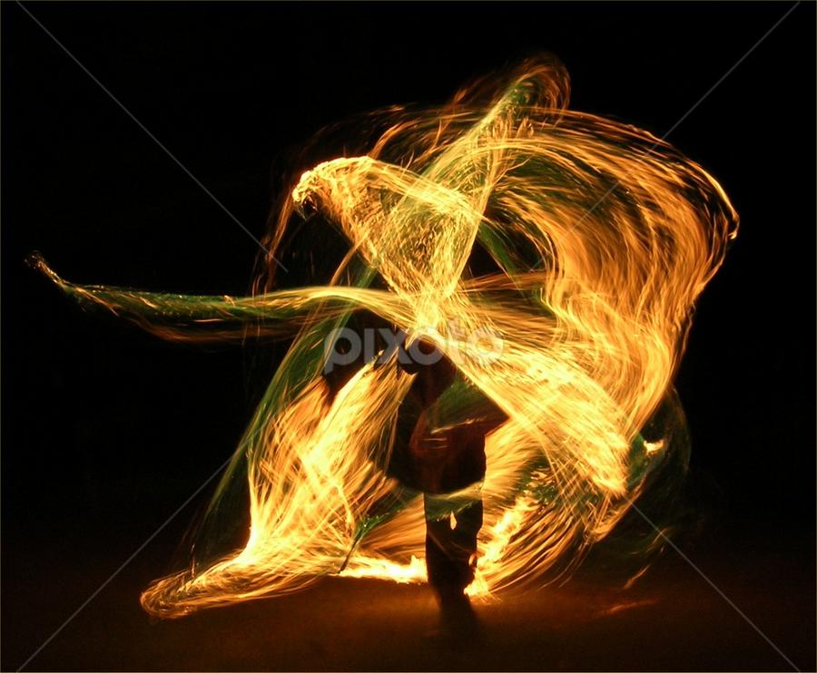 Walking through Fire  by William Brunson Jr. - Abstract Fire & Fireworks ( orange, fire performance, fire art, art, men, flow, fire spinner, fire, black, fire whip )