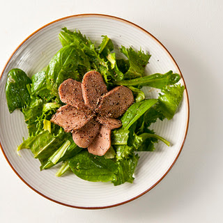 Braised Venison Tongue With Mixed Greens.