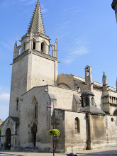 Photo: We move right across the Rhone to the better-known town of Tarascon, parking next to St Martha's Collegiate Church, which is half-Romanesque (12th century) and half-Gothic (14th century). According to folklore, in the first century CE, St. Martha subdued a legendary beast - the Tarasque - which rose from the Rhone to terrorize the area. A festival to commemorate this miracle was started by Good King Rene in 1474, and continues to the present day.