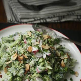 Healthy Broccoli Slaw Recipe With Yogurt Mint Dressing and Radishes.