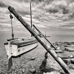 ...end of the season by Gregor Znidarsic - Transportation Boats ( clouds, winter, black and white, slovenia, clouds and sea, sea, cloudscape, seascape, boat, fisherman, birds )