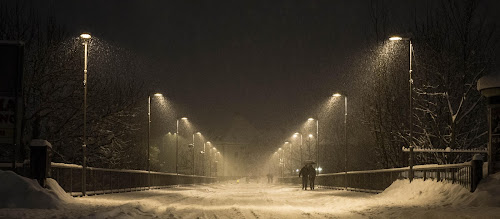 Snow path by Andrej Eling - City,  Street & Park  Street Scenes ( lamps, winter, snow, night, bridge )
