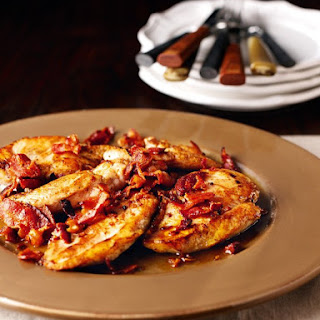 Chicken Schnitzel With Bacon and White Wine.