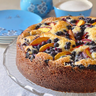 Blueberry Peach Sour Cream Cake
