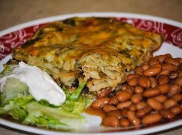 Vegetarian Green Chile Chicken Enchilada Casserole