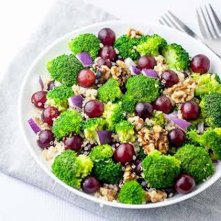 Broccoli Quinoa Salad with Sesame Miso Dressing.