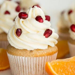 Orange Pomegranate Cupcakes.