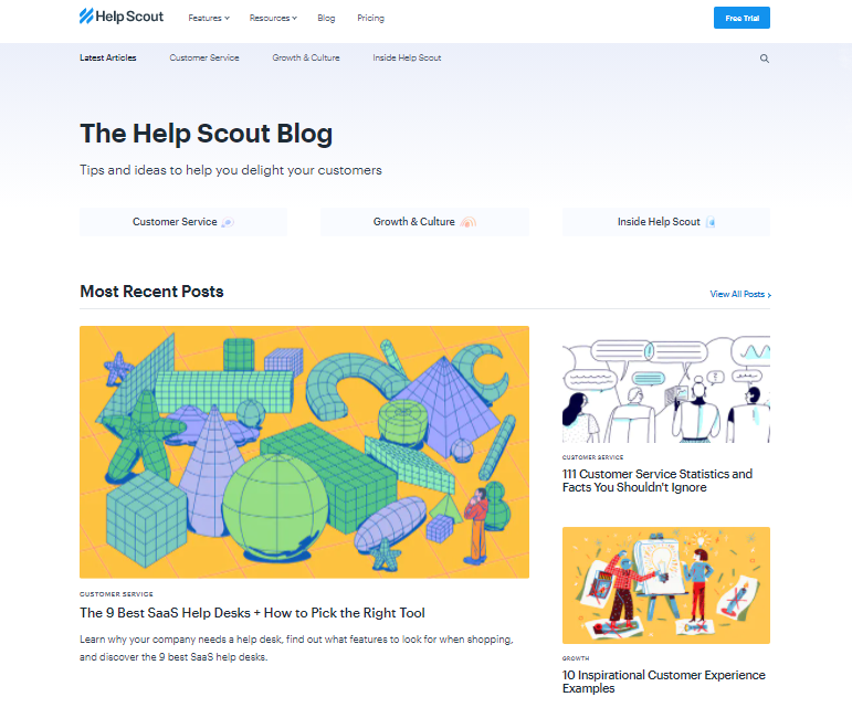 The Help Scout's blog core topics as part of its blog management