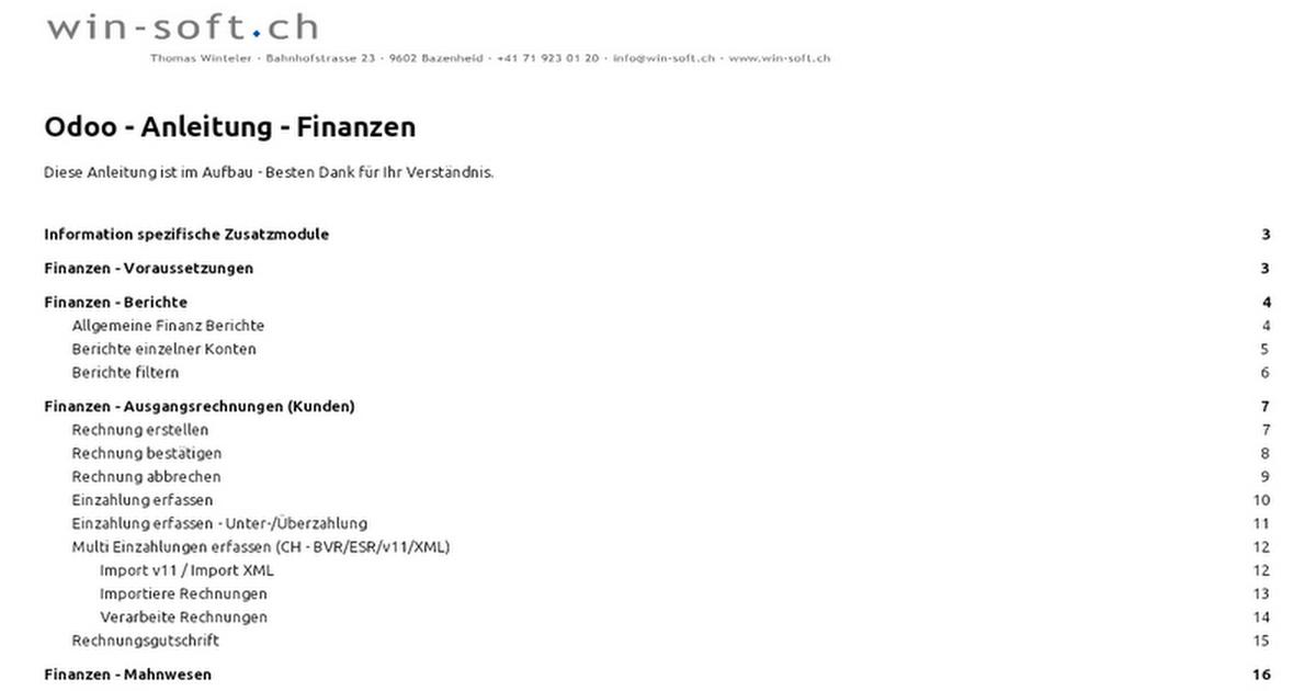 Odoo 8 - Anleitung - Finanzen - Google Docs