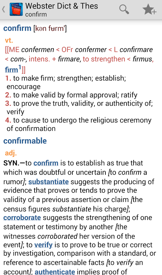 Webster's Dictionary+Thesaurus- screenshot
