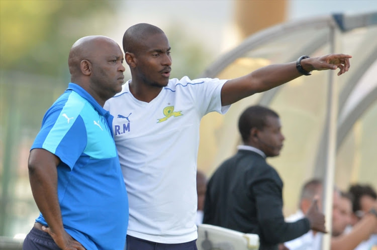 Mamelodi Sundowns coach Pitso Mosimane and former assistant, now Orlando Pirates assistant Rulani Mokwena.