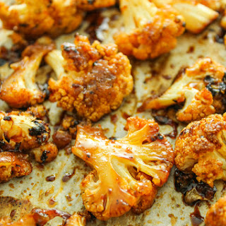 Sweet and Spicy Baked Cauliflower.