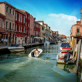 Canals By Boat by T Sco - Buildings & Architecture Other Exteriors ( rome, sky, motor, builldings, waterway, walkway, boats, windows, water, people, boat, building, path, pathway, pedestrian, canal, italy, walk )
