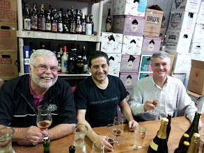 "Photo: L-R: Bob Pike, Dan Rosen and ""Spider Hamp"" Covington enjoy some beers at our pre-trip tasting at Brick Store."