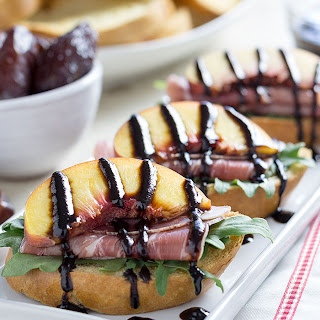 Peach Prosciutto Crostini with Medjool Date Balsamic Glaze