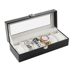 Cutie depozitare 6 ceasuri. Material piele ecologica.