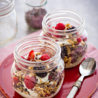 Yogurt Parfaits with Berries and Cocoa Nibs.