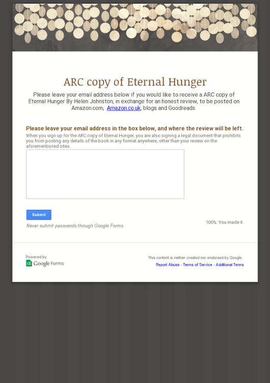 ARC copy of Eternal Hunger