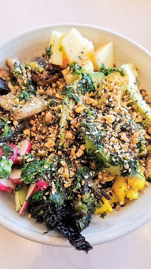 Brunch at Tusk, From the Vegetables and Grains section, the Grain Bowl with green wheat, vegetables, avocado, dukka, egg, argan oil