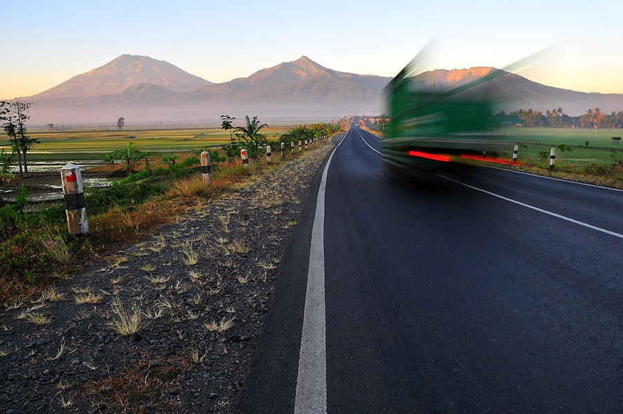On the morning road by Wawan OneClick - Landscapes Mountains & Hills